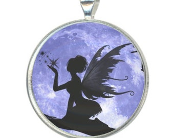 Fairy Silhouette In Front of a Blue Moon and Sky 38mm Round Photo Pendant on an 18 inch silver plated chain