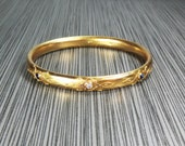 Antique 14k Diamond and Sapphire Bracelet Victorian Bangle Bracelet Old Mine Cut Diamond Yellow Gold Slip On Bangle Large Size