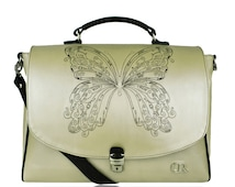 "Becky II Light Pearly Yellow & Black ""Butterfly"" -unique embroidered leather satchel, real leather women's briefcase, white beige pewter bag"