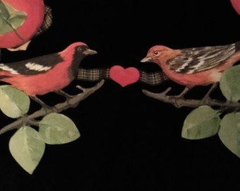Birds,Hearts and Leaves on a Hand Painted Garland