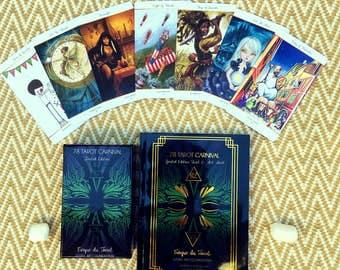 78 Tarot Carnival SET - Book & Tarot Deck - 261 page book with full page tarot art , gold foil cover,  Indie Deck, Carnival, 78Tarot