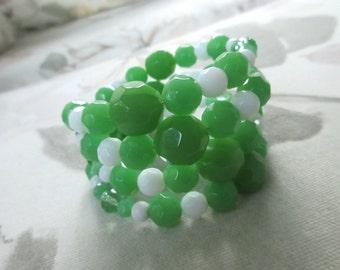 Green and white wrap bracelet, memory wire bracelet