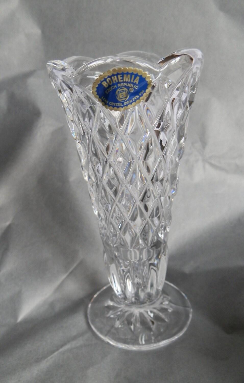 Vintage Small Bohemia 24 Lead Crystal Glass Vase