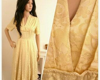 Vintage 1940's 50's Gold Brocade Floral Satin Evening Dress 40s 50s / UK 10 / EU 38 / US 6