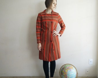 Vintage 1960s MOD Orange Striped Jacket/60s Coat/Small
