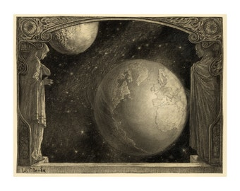 View of the Earth Moon and Milky Way - Astronomy Art Deco Print - Antique Astronomical Illustration - Old Maps and Prints