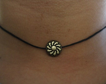 Bronze Flower Choker Necklace.