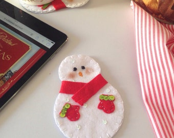 Snowman Coaster, Felt Coaster, Christmas Table, Christmas Coaster, Felt Snowman, Coaster, Cup Coaster, Coaster For Drink, Fun Coaster