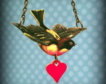 Robin Necklace - Red Breasted Robin Jewelry - Spring Robin - Beautiful and Romantic Red Breasted Robin with Heart - Shrink Plastic Necklace