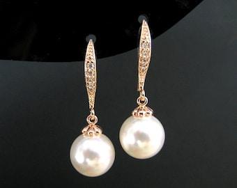 Rose Gold Pearl Earrings Bridal Pearl Earrings Swarovski 10mm Round Pearl Wedding Jewelry Bridesmaid Gift Ear hooks Drop Earrings (E004)