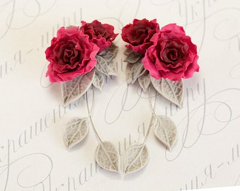 Red rose earrings. Dangle earrings. Gray red flower earrings. Polymer clay jewelry. Rose jewelry. Bridesmaids gift. Red jewelry