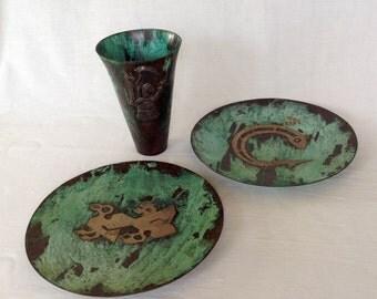3 Silver and Copper Pieces by Graziella Laffi