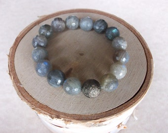 Gemstone Beaded Stretch Bracelet Labradorite Beaded Stretch Bracelet Great Stacking Bracelet Genuine Labradorite Celebrity Bracelets B0180