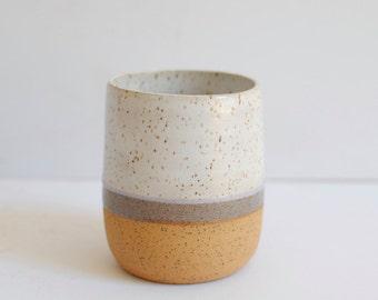 Handmade Ceramic Periwinkle Stripe Tumbler