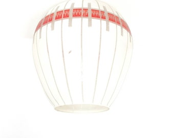 Vintage white glass lampshade, red and silver coloured frosted decoration, Sputnik style, 1950's, 1960s
