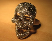 Large 1 & 1/2 Inch Shiny Silver Metal Skull and Rose Ring Encrusted With Sparkling Crystal Rhinestones USA Size 10 1/4 UK Size U Nice Detail