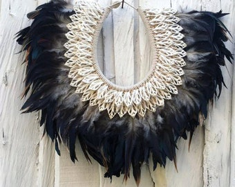 ON SALE Feathers and shells necklace, decorative Papua necklace black feathers and white shells