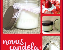Mason Jar Candle - Soy Candle - Soy Scented Candle - Strawberry N Cream Candle - Homemade Candle - Jar Candle - Housewarming Gift - 2 4 8 oz