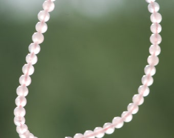 Rose Quartz, One Strand, Natural Color, Pink, 4mm Round, 14 inches