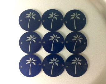 Palm Tree in Silver on Dark Blue or your choice of disc - jewelry making, bangle bracelet, gift, handmade beads - 1.25 inch size