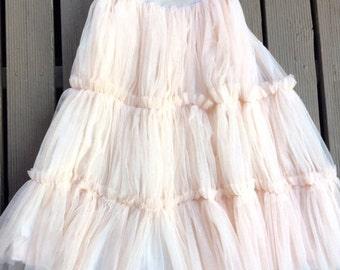 blush peach net skirt. tutu skirt. adult tutu skirt. net skirt. ballerina tulle skirt.