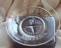 1951  Vintage FESTIVAL OF BRITAIN Exhibition souvenir pressed glass dish -original & genuinely owned by one owner only.
