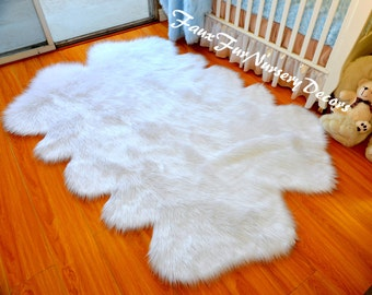 New Special Design Quad Sheepskin Pelts Cute Baby Shaggy Faux Fur Rug True  Snow White In
