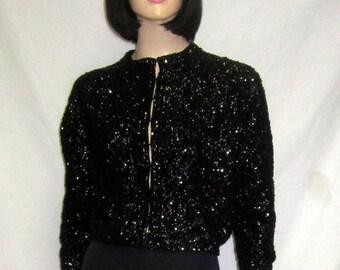 1950's Black Sequined Evening Sweater/Cardigan