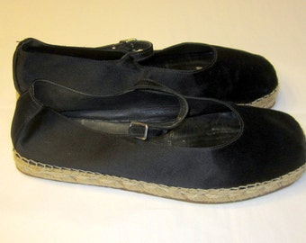 Prada-Milano, Single Platform, Black Satin-Like Espadrille Shoes, Made in Italy, Size 38
