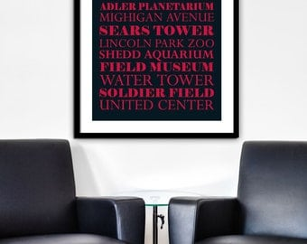 Chicago Prints, Chicago Wall Decor, Chicago Landmarks, Chicago Art, Chicago Poster, Red and Black, Basketball, The Bulls, Sports Art, City
