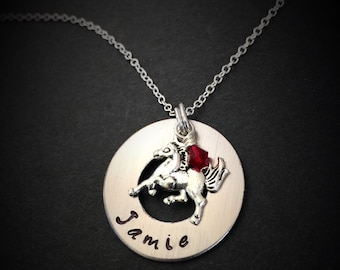 Hand Stamped Horse Necklace, Personalized Horse Necklace, Animal Jewelry, Horse Jewelry, Horse Necklace