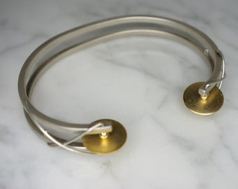 Silver and Yellow Gold Plated Modernist Cuff