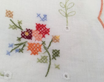 1950's Cross Stitch of delicate Flowers on a White Cotton Table Cloth 80cm by 83cm