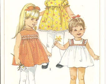 Vintage 1960s Simplicity Pattern 8016: Toddlers' Dress. Size Toddler 1/2. Complete