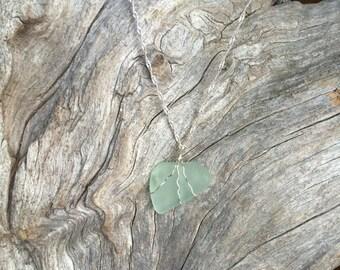 Seafoam green sea glass necklace