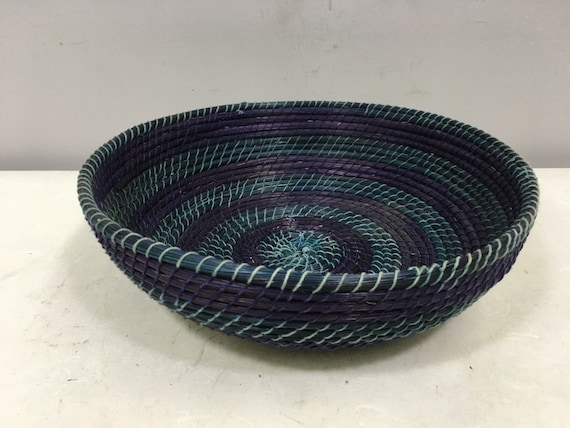 Basket African Lesotho Blue Purple Woven South Africa Handmade Hand Woven Coiled Woman Unique SM38