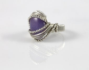 Silver Wire Wrapped Purple Jade Ring Size 8