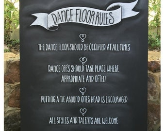 Dance floor rules chalk board/ Wedding sign (5)