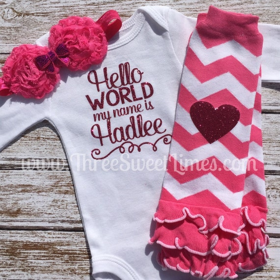 baby girl take home outfit hello world by threesweetlimes