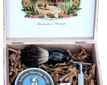 Shaving Kit by Sir Hare including Safety Razor, Shaving Soap, Badger Shaving Brush in a unique wood cigar box. Groomsmen gift