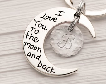 moon keychain with initial and I love you to the moon and back keyring - gift for mom from daughter as bff keychain as valentine gift.
