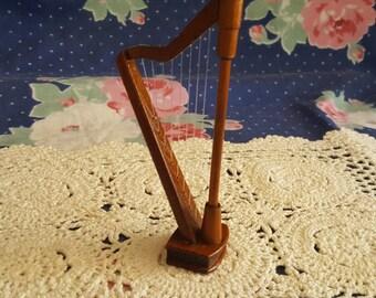 Miniature Dollhouse Wooden Harp Instrument 1:12 Scale