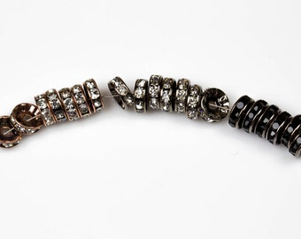 High Quality. 6-12mm RHINESTONE SPACERS - Gunmetal or Bronze Plated - AAA Quality 100 pcs.