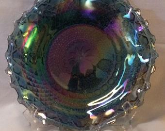 Indiana Glass Iridescent Blue Glass Plate (686)