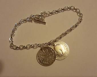 Handmade sterling silver double coin bracelet genuine three pence silver coins