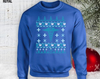 Ugly Christmas Unisex Crewneck Sweater - Nursing Gifts, Raglan Christmas Gift Ideas Gifts For Nurses Presents For Xmas Gifts, Hoodie CT-796
