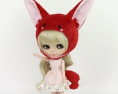 Blythe Pullip hat helmet and tail - anime fennec fox set - kawaii cute and soft