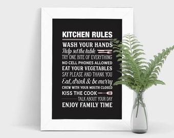Kitchen Rules Print, Modern Kitchen Artwork, Kitchen Print, Personalized Kitchen Rules, Black and White Home Decor