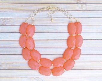 Bridal Necklace Jewelry - Bridesmaid Evening Special Occasion Necklace - Coral Pink Bold Colorful Statement Necklace -Chunky Wedding Jewelry
