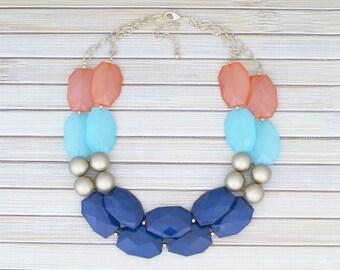 Multi Colored Retro Statement Jewelry, Colorful Blue Gemstone Necklace, Chunky Bib Fashionable Necklace Anthropologie JCrew Stylish Necklace